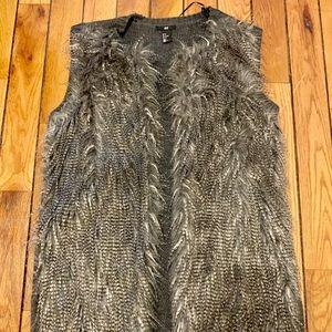 H&M grey fake fur vest